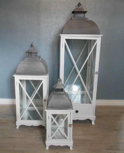 Large Square Lanterns With Cross Detail (Set Of 3)
